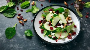 Apple, cranberry and cottage cheese salad.