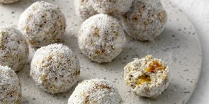 Cottage Cheese, Apricot, Coconut & Chia Bliss-balls