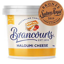 Haloumi Cheese - A Bronze Medal Winner at the 2019 Sydney Royal Show. An absolutely delicious cheese by Brancourts.